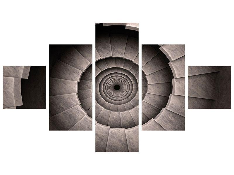 Leinwandbild 5-teilig Steinwendeltreppe