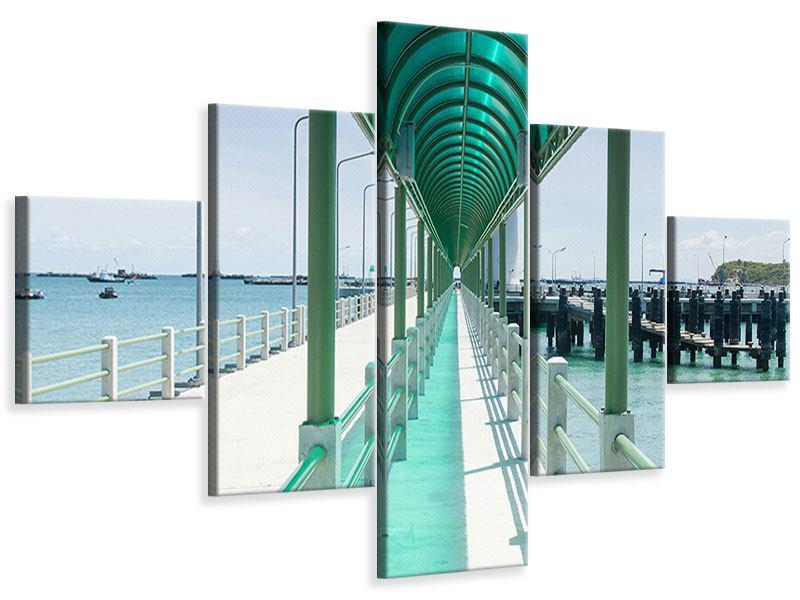 Leinwandbild 5-teilig Die Brücke am Meer