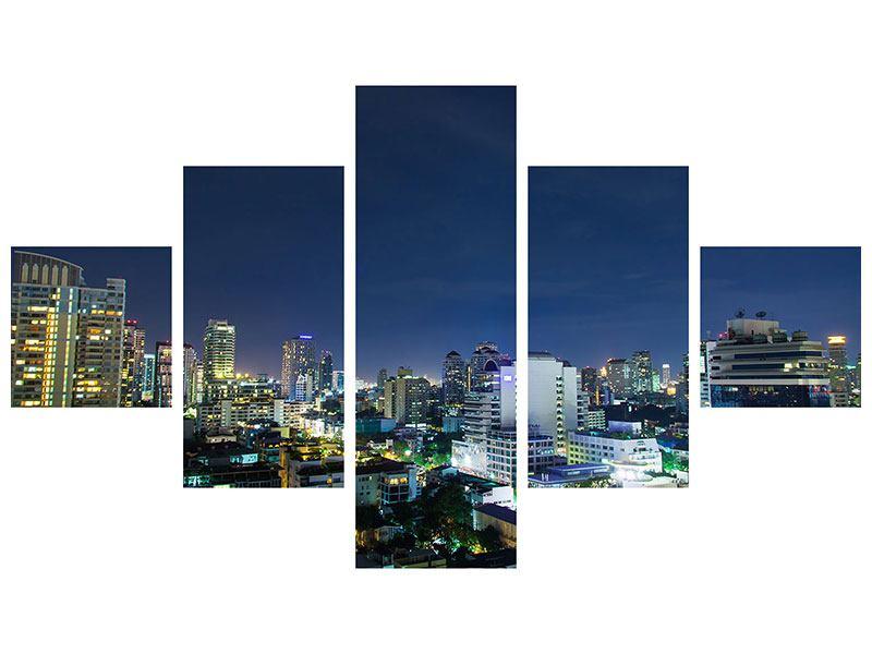 Leinwandbild 5-teilig Skyline Nachts in Bangkok