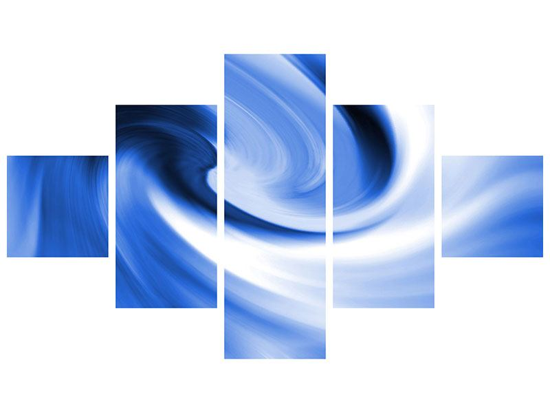 Leinwandbild 5-teilig Abstrakte blaue Welle
