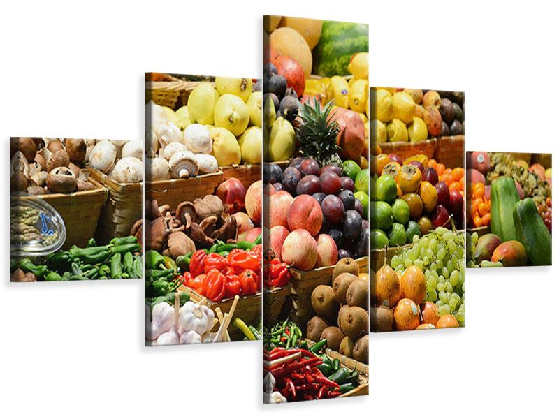 Leinwandbild 5-teilig Obstmarkt