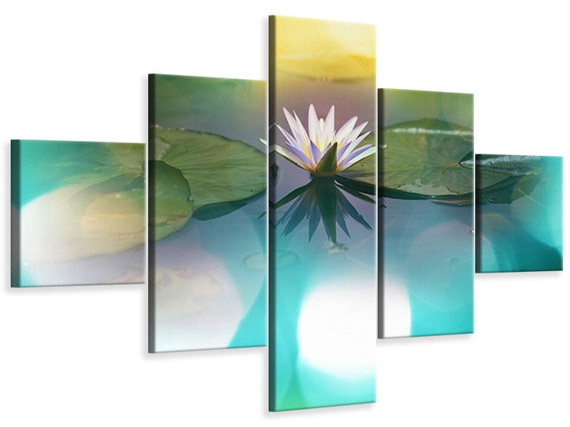 Leinwandbild 5-teilig Lotus-Spiegelung
