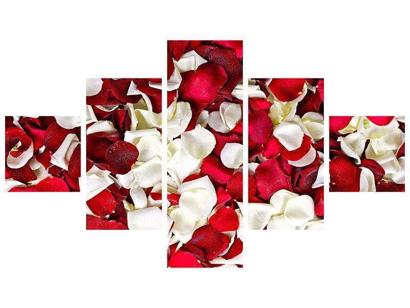 Leinwandbild 5-teilig Rosenblätter