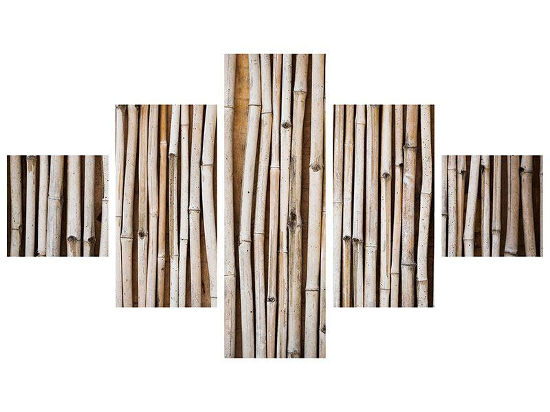 Leinwandbild 5-teilig Getrocknete Bambusrohre