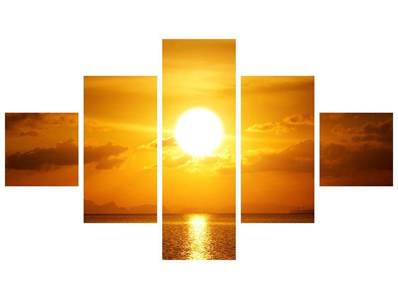 Leinwandbild 5-teilig Sonnenuntergang See