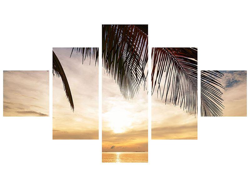 Leinwandbild 5-teilig Strandpalme