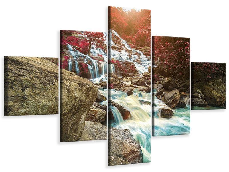 Leinwandbild 5-teilig Exotischer Wasserfall