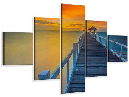 Leinwandbild 5-teilig Eine Holzbrücke im fernen Osten