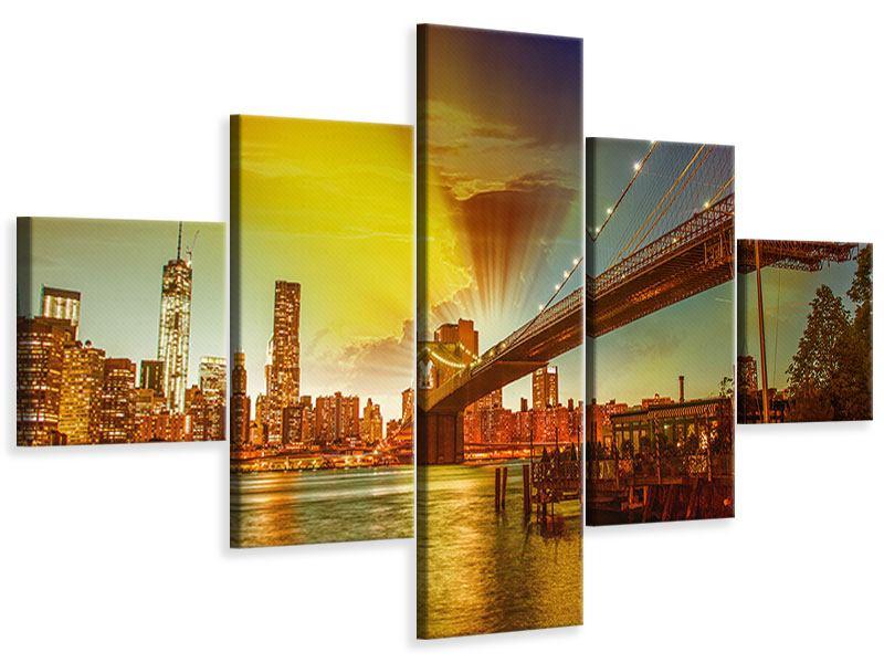 Leinwandbild 5-teilig Skyline Brooklyn Bridge NY