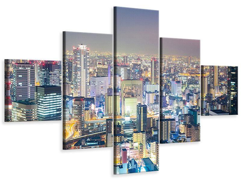 Leinwandbild 5-teilig Skyline Osaka bei Sonnenuntergang