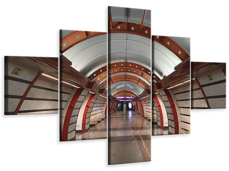Leinwandbild 5-teilig U-Bahn Station
