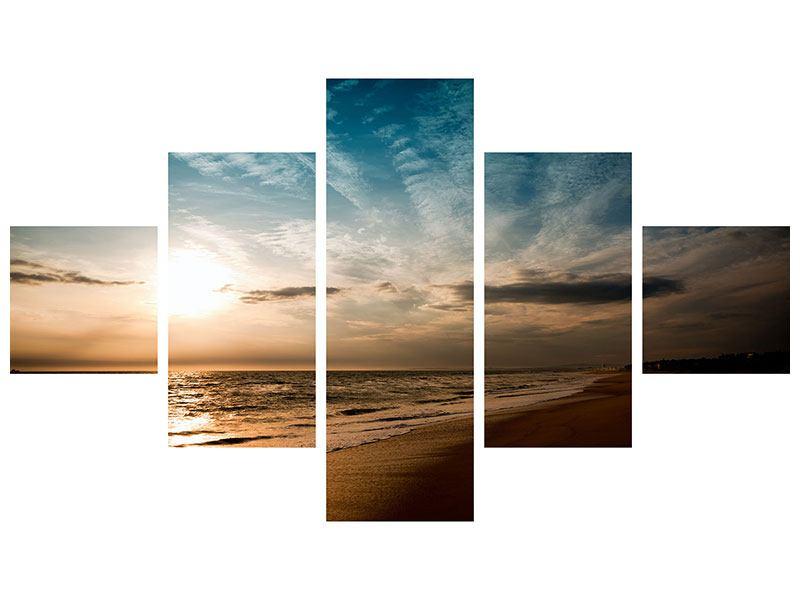 Leinwandbild 5-teilig Strandspaziergang