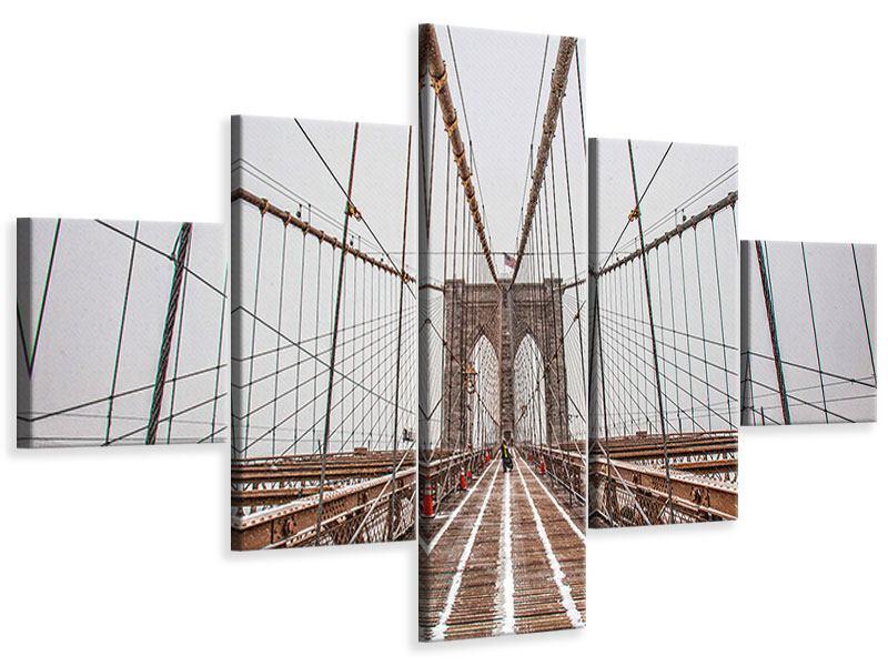 Leinwandbild 5-teilig Auf der Brooklyn Bridge