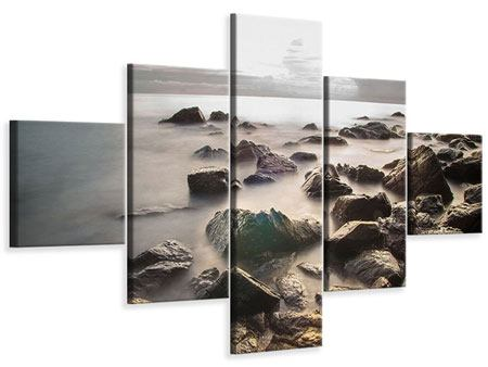 Leinwandbild 5-teilig Steine am Strand