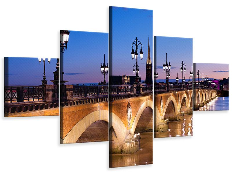 Leinwandbild 5-teilig Pont De Pierre bei Sonnenuntergang