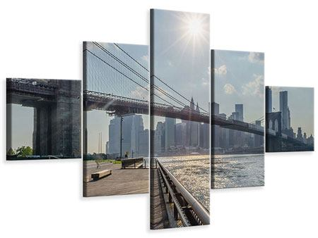 Leinwandbild 5-teilig Brooklyn Bridge