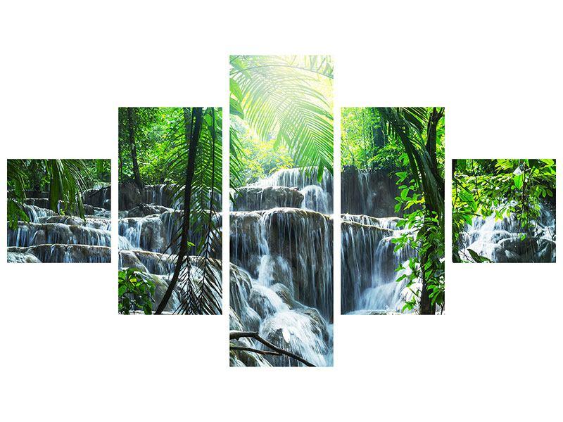Leinwandbild 5-teilig Wasserfall Agua Azul
