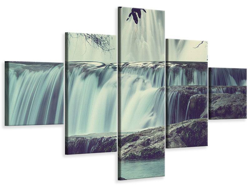Leinwandbild 5-teilig Wasserfall Mexiko