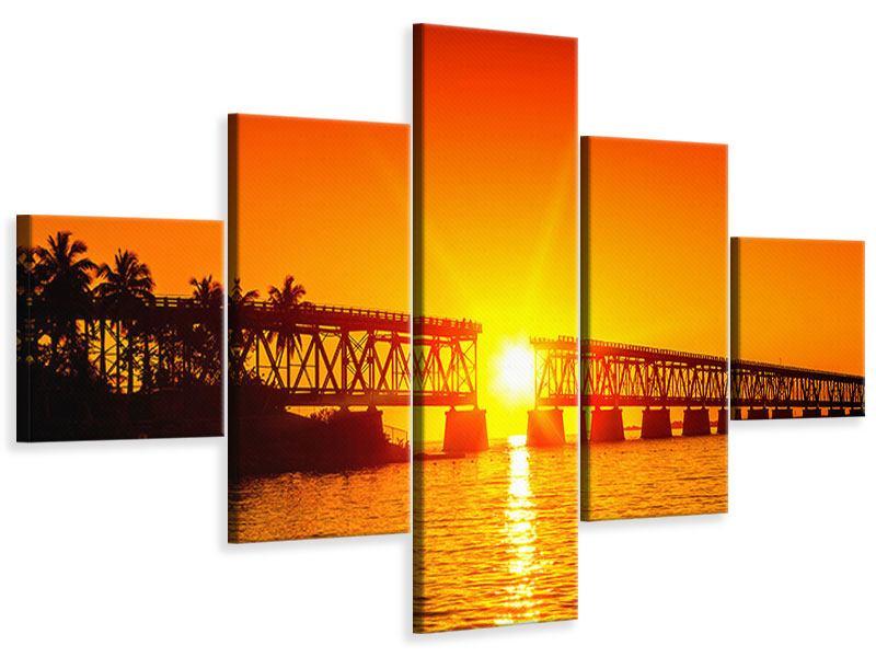 Leinwandbild 5-teilig Sonnenuntergang an der Brücke