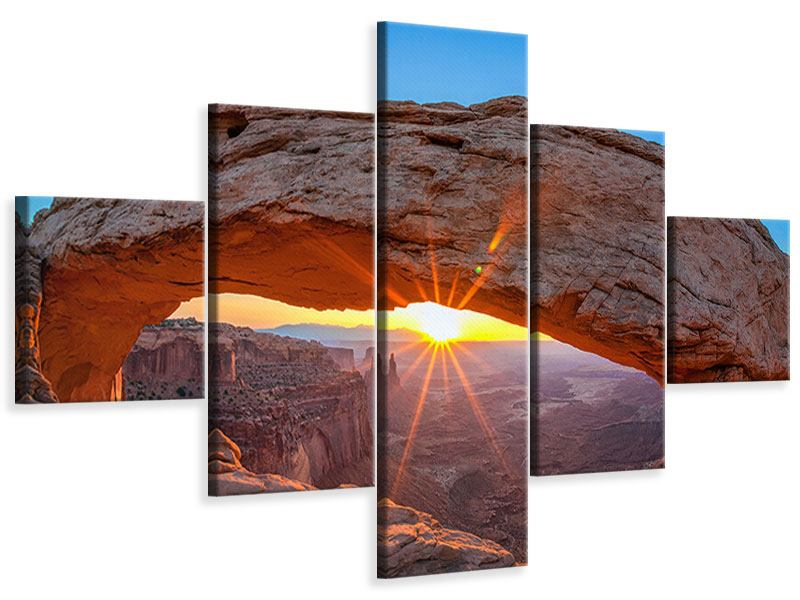 Leinwandbild 5-teilig Sonnenuntergang am Mesa Arch