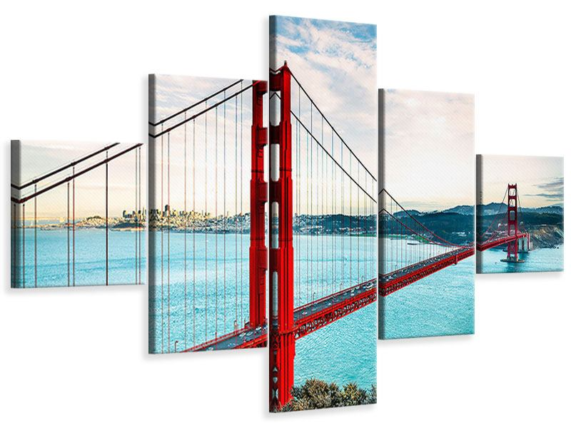 Leinwandbild 5-teilig Golden Gate Bridge