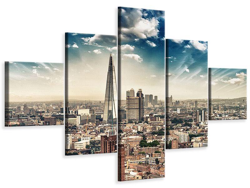 Leinwandbild 5-teilig Skyline Über den Dächern von London