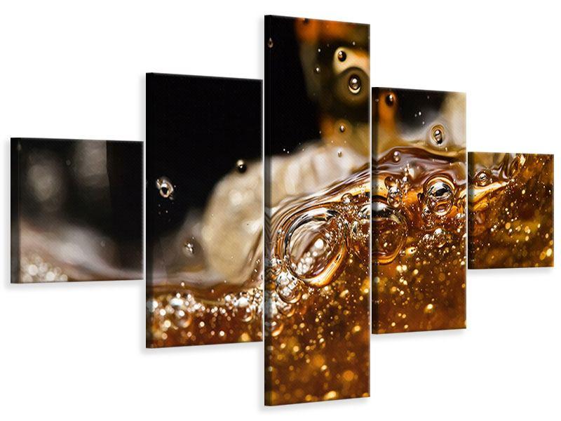 Leinwandbild 5-teilig Cognac