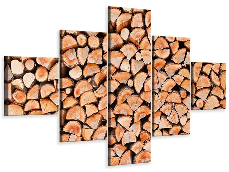 Leinwandbild 5-teilig Birkenstapel