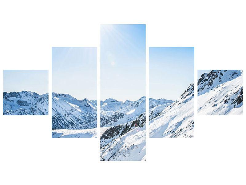 Leinwandbild 5-teilig Bergpanorama im Schnee