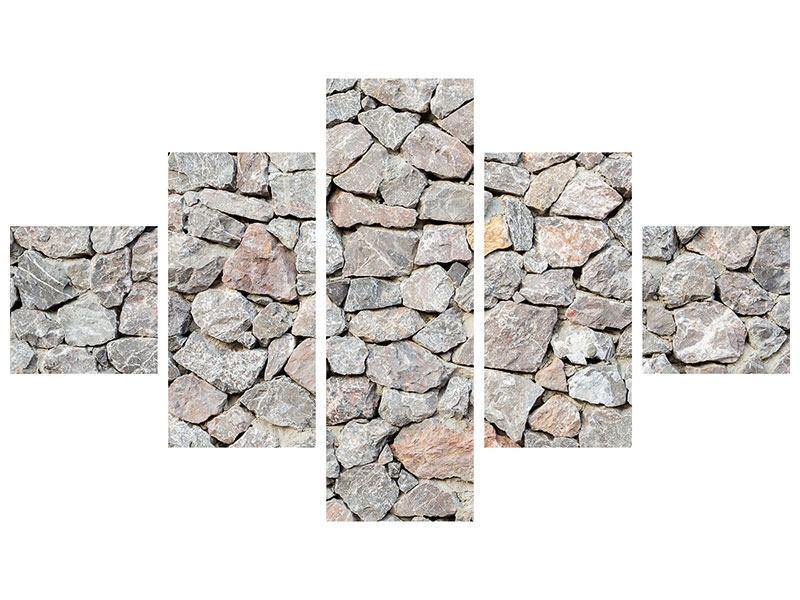 Leinwandbild 5-teilig Grunge-Stil Mauer