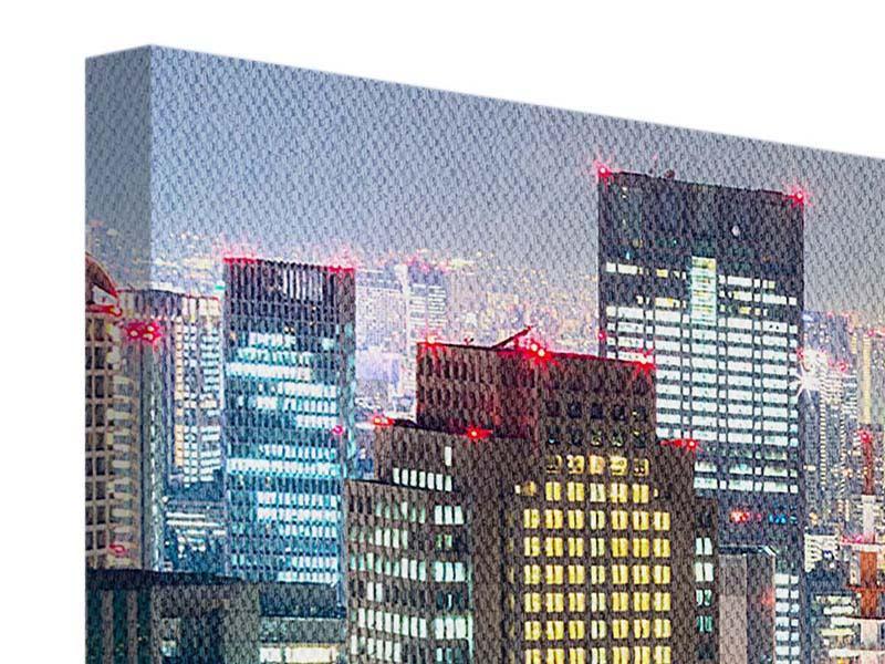 Leinwandbild 5-teilig Skyline Osaka im Lichtermeer