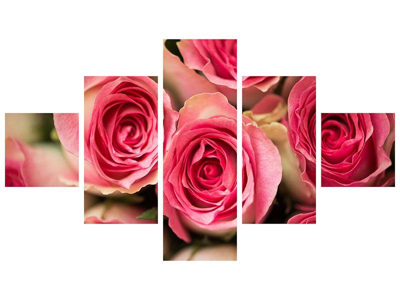 Leinwandbild 5-teilig Rosenliebe