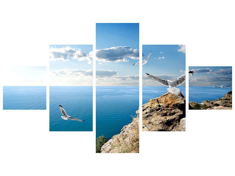 Leinwandbild 5-teilig Die Möwen und das Meer
