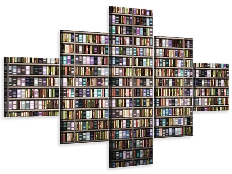 Leinwandbild 5-teilig Bücherregal