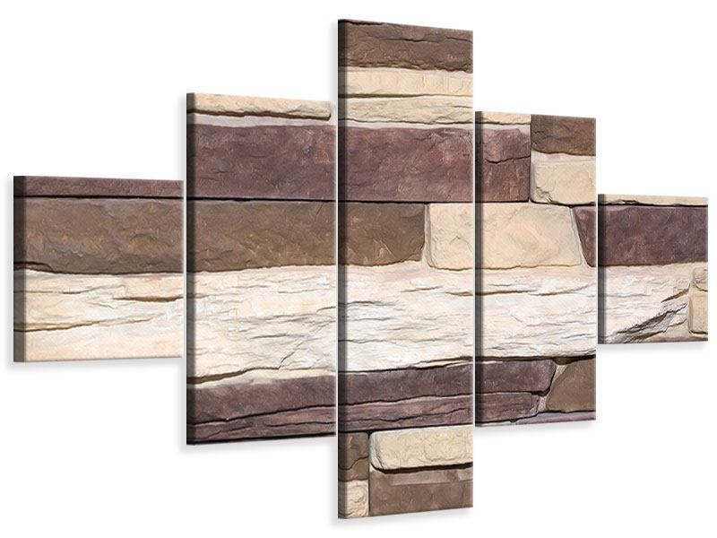 Leinwandbild 5-teilig Designer-Mauer