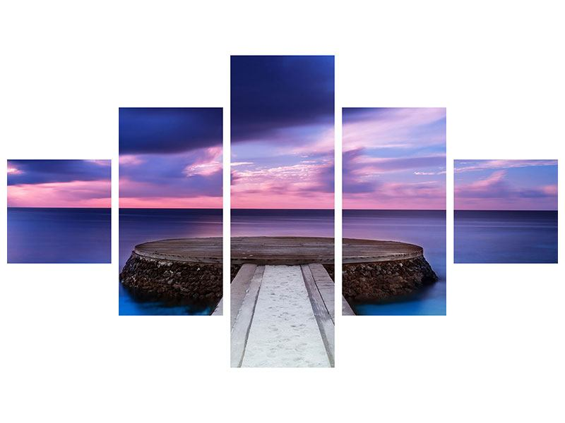 Leinwandbild 5-teilig Meditation am Meer