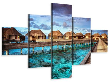 Leinwandbild 5-teilig Traumhaus im Wasser