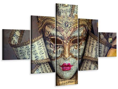 Leinwandbild 5-teilig Venezianische Maske