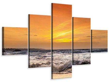 Leinwandbild 5-teilig See mit Sonnenuntergang