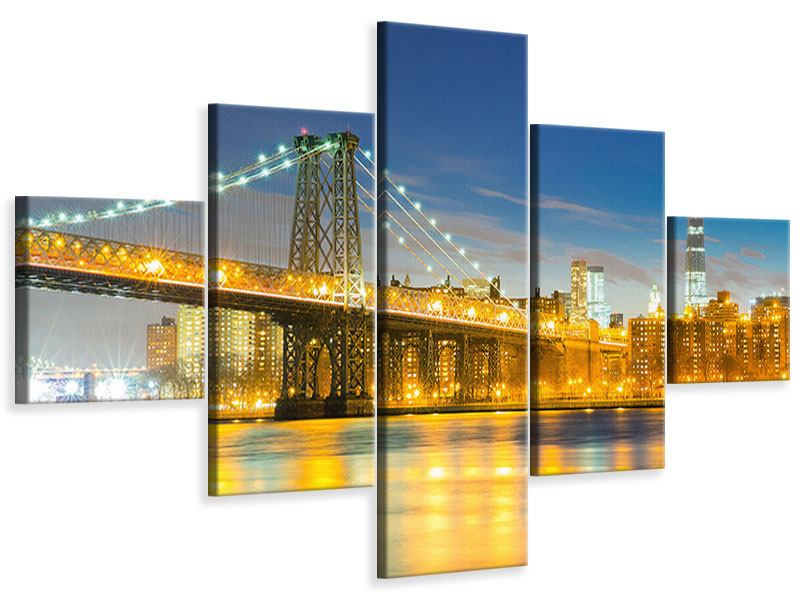 Leinwandbild 5-teilig Brooklyn Bridge bei Nacht