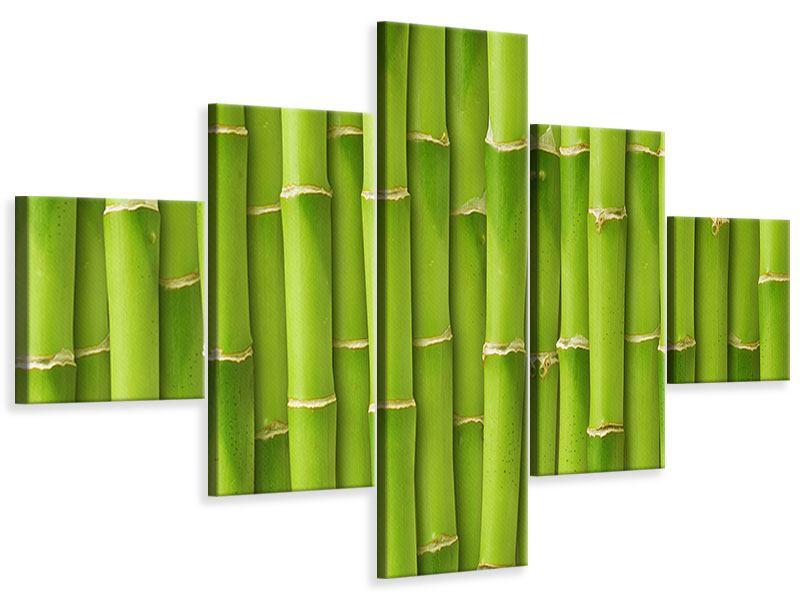 Leinwandbild 5-teilig Bambuswand