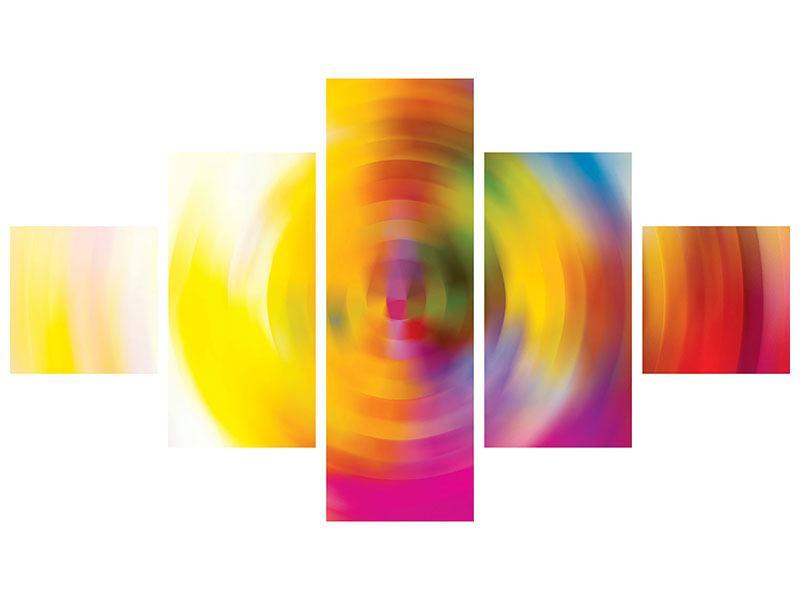 Leinwandbild 5-teilig Abstrakte Farbkreise