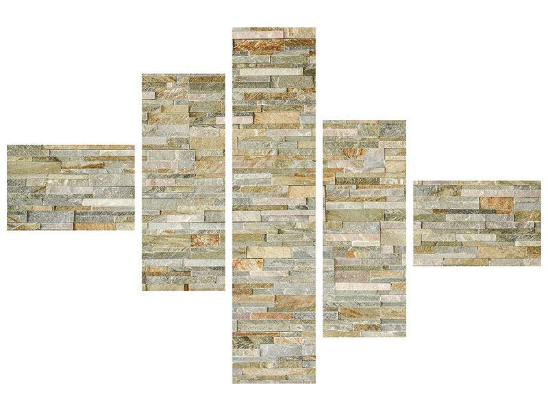 Leinwandbild 5-teilig modern Edle Steinmauer