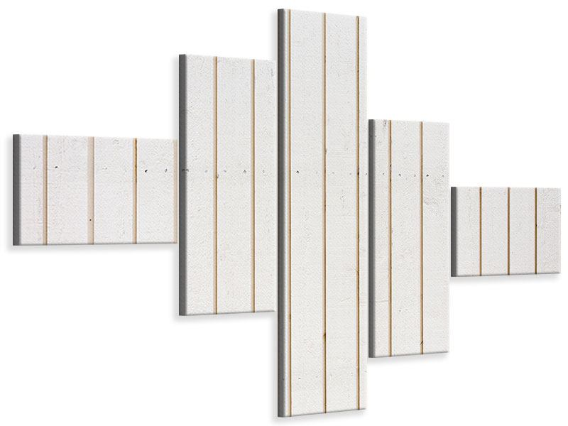 Leinwandbild 5-teilig modern Mediterranes Holz