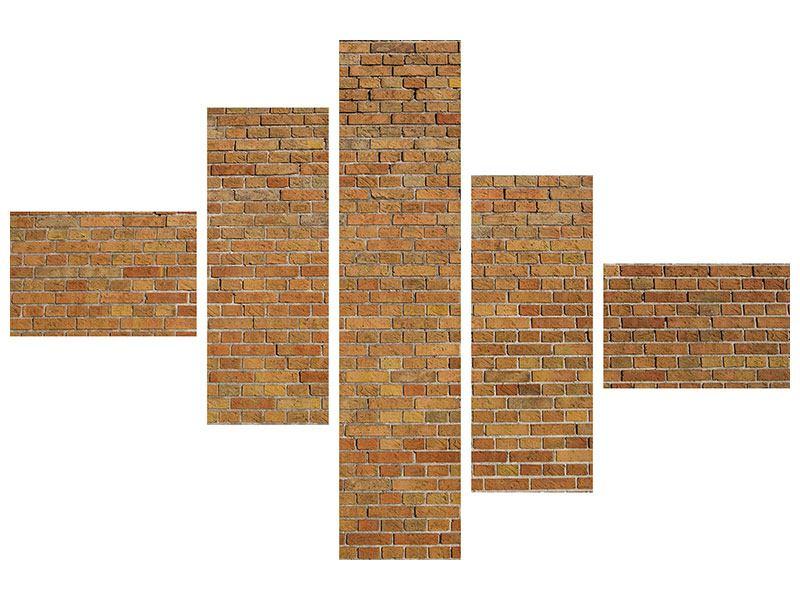 Leinwandbild 5-teilig modern Backsteinhintergrund