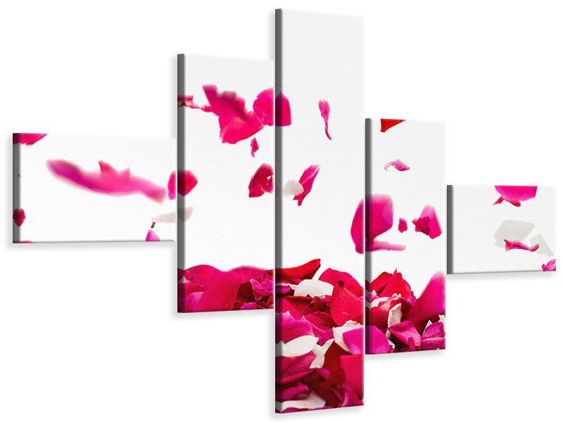 Leinwandbild 5-teilig modern Für mich soll`s rote Rosen regnen