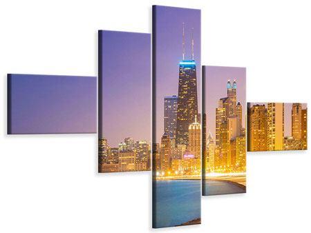 Leinwandbild 5-teilig modern Skyline Chicago in der Nacht