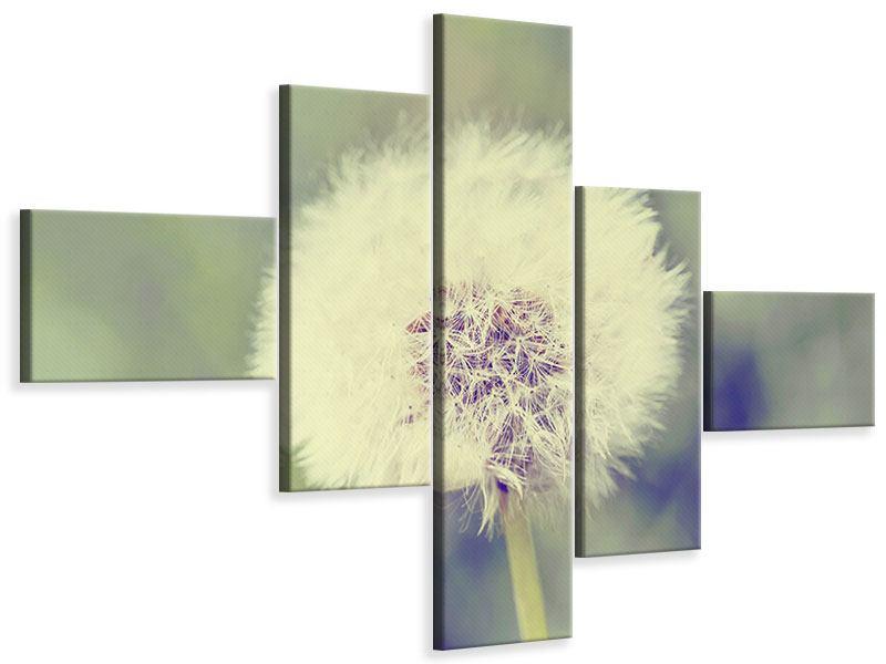 Leinwandbild 5-teilig modern Die Pusteblume