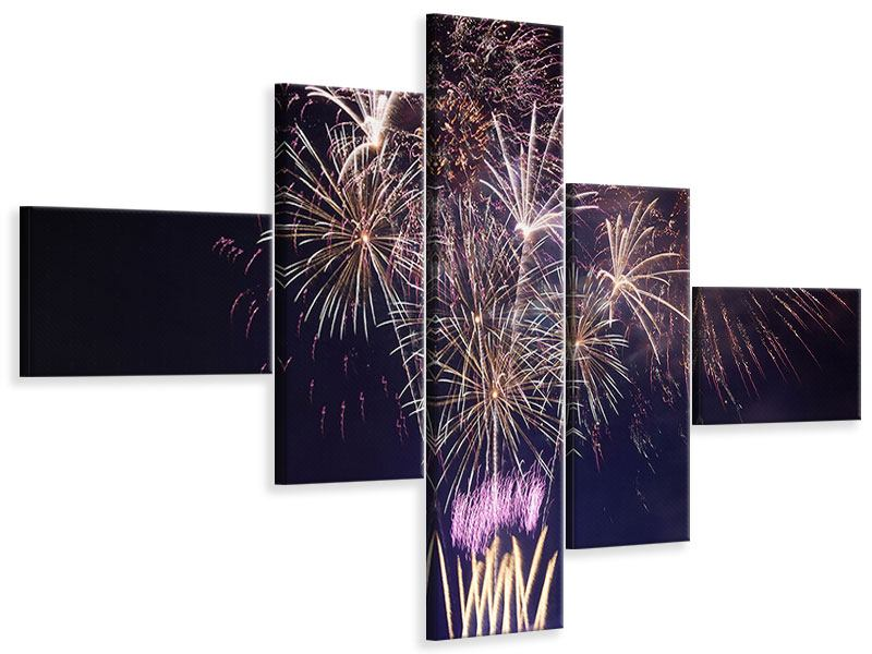 Leinwandbild 5-teilig modern Feuerwerk