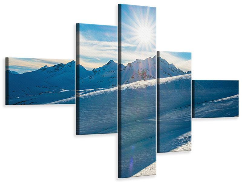 Leinwandbild 5-teilig modern Ein Wintermärchen in den Bergen